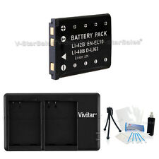 EN-EL10 Replacement Battery & USB Dual Charger f/ Nikon Coolpix S500 S510 S60