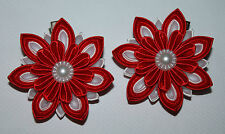 School/Party Pair of Handmade Satin Girl's Flower Hair clips