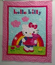 "Super Cute Hello Kitty Pink Finished  Baby Girl Quilt 35"" X 43"""