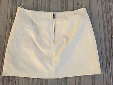 ZARA Genuine Real Off White Beige Leather Mini Embroidered Skirt Lined (XS)