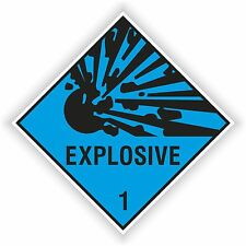 1x EXPLOSIVE CYAN sticker Explosion warning danger BUMPER DECAL 10x10cm=4x4""