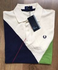 FRED PERRY RARE UNIQUE STYLE MENS POLO SHIRT SIZE S COTTON PIQUE NEW WITH TAGS!