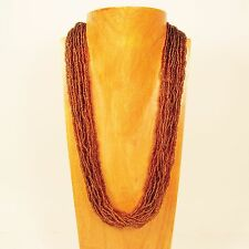 "25"" Multi Strand Amber Dark Gold Color Handmade Seed Bead Statement Necklace"
