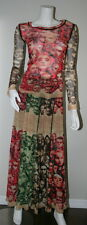 Jean Paul Gaultier Red Green Faces Sheer Mesh Skirt Top 2 pc M 8 10