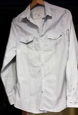 MEN's River Island A RIGHE VERO QUALITY Denim Camicia in cotone Pearl Snap PULSANTI M