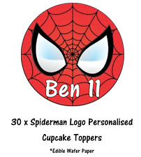 30 Spiderman Logo Personalised Cupcake Toppers Edible Paper Fairy Cake Topper