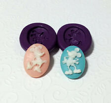 Silicone Molds Mickey & Minnie Mouse Cameo Set (24mm) Cake Topper Clay Jewelry
