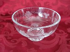 Skruf Sweden crystal footed bowl etched grape vine design signed 2025