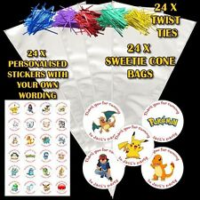 24 Personalised Pokemon Birthday Do It Youself Sweet Cone Party Favour Bags DE3