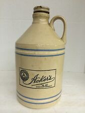FINLEY ACKER&CO.STONEWARE CONTAINER WITH CERAMIC SCREW TOP LID HG REGISTERED