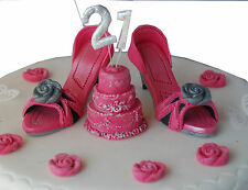 "Edible SHOES & Cake & any ""AGE""  Birthday Cake Set Handmade Sugarpaste Topper"