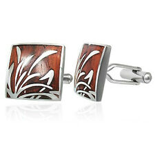 Modern Stainless Steel with Wood Inlaid Square Smart Cufflinks by Urban Male