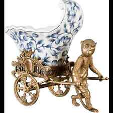 NEW blue and white PORCELAIN PLANTER with bronze MONKEY PULLING CART