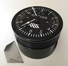 Aircraft Piston Altimeter Clock. Art Memorabilia Pilots Gift Aviation Piper Prop