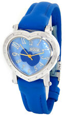FREEZE LADIES REAL DIAMONDS HEART SHAPED WATCH SILVER TONE BLUE BAND