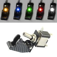 5Pcs 12V 20A Car Truck Carbon Fiber LED Toggle Switch Light Racing SPST 5Colors