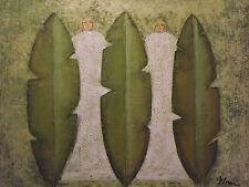 Pintura En Oleo de Tribal Abstracto Hombres Verdes Grande Contemporáneo Original