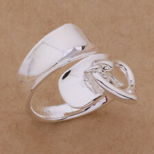 925 Sterling silver plated heart Charm Anello pollice / Wrap ANELLO REGOLABILE. REGALO.