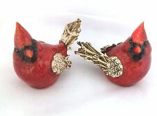 Pair Country Cardinal Figurines Red Speckled w/Twig Like Wings Tails Small