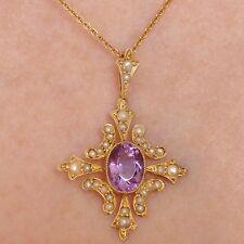 Antiguo Oro 9ct Victoriano Amatista & Perla cruciforme Colgante Collar c1895