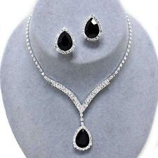 Black Crystal Rhinestone Prom Formal Bridal Wedding Clip Earrings Necklace Set
