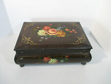Wooden Box Toleware Flowers Antique Keepsake Box Brass Corners Feet Large 15x10