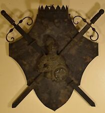 Stunning Antique Metal Coat of Arms with Knight & 2 Swords Plaque, AWESOME!
