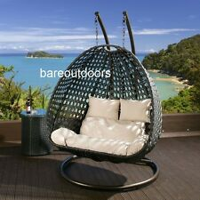 Double Seater Hanging Pod Chair - Black Wicker with Beige Cushions