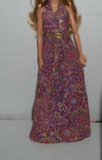 BARBIE DOLL MODEL MUSE HIPPIE BOHO CHIC PRINT FESTIVAL HALTER GOWN DRESS