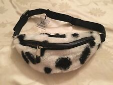SS16 Moschino Couture X Jeremy Scott Black White Cow Print Faux Fur Fanny Pack