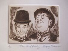 GEORGE CRIONAS LAUREL AND HARDY Hand Signed Limited Edition Etching with Crease