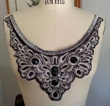 "11"" Long Neck Embroidered BEAD Neckline Applique - Metallic Silver, BLACK & GREY"