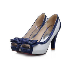 Lolita Gilr's Bowknot High Heels Open Toe Party Pumps Shoes Big Size