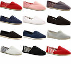 LADIES WOMENS FLAT CASUAL PLIMSOLLS ESPADRILLES CANVAS SHOES PUMPS TRAINERS SIZE