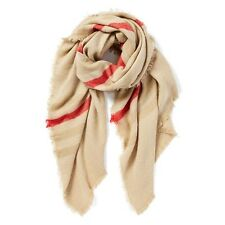 Anthropologie CAMEL & Red Stripe LONG BLANKET Oversize COZY Knit Scarf NEW