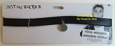 JUSTIN BIEBER NECKLACE - BLACK CHOKER WITH What Do You Mean? CHARM