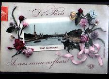 PARIS / SOUVENIR du PONT ALEXANDRE & TOUR EIFFEL en 1907