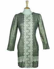 SOMA GOLD WINTER METALLIC LACE LONG SLEEVE PARTY SHIFT DRESS  S/M 10-12 *BNWT*