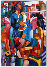 Three Women Portrait - Hand Painted Picasso Cubist Oil Painting On Canvas