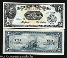 PHILIPPINES 2 PESOS P134 1949 RIZAL BOAT CROSS UNC CURRENCY MONEY BILL BANK NOTE