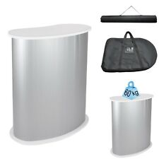 Podium Table Counter Stand Trade Show Display White Top Impact Stand Oval w/Case