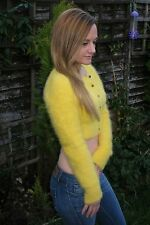"BNWT Yellow Fluffy Furry Soft Cropped Sexy Angora Cardigan Chic S/M 32"" £14.99"