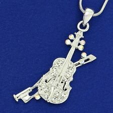 "W Swarovski Crystal Viola Violin Fiddle Music Pendant Necklace 18"" Chain Gift"