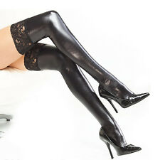 Womens Lace Tops Stocking/Hold Up's Pvc Wet Look Faux Leather Bdsm Fetish Red
