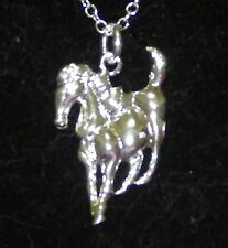 New 925 Sterling Silver Running Horse Pendant Charm With Free Chain