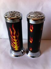 BICYCLE CUSTOM GRIPS WITH FLAME BLACK/CHROME CRUISER LOWRIDER CYCLING BIKES
