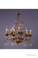 DUSX Floral Antique Gold & Clear Crystal Large 9 Arm Chandelier Ceiling Light