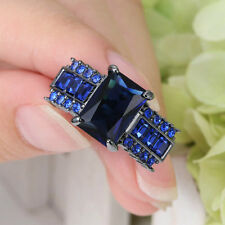 5.0/ct Blue Sapphire CZ Band 10KT Black Gold Filled Wedding Ring Men/Women's Sz8