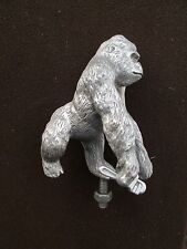 grease monkey with monkey wrench, gorilla, ratrod,car hood ornament mascot