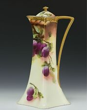 LIMOGES HAND PAINTED PLUMS CHOCOLATE POT